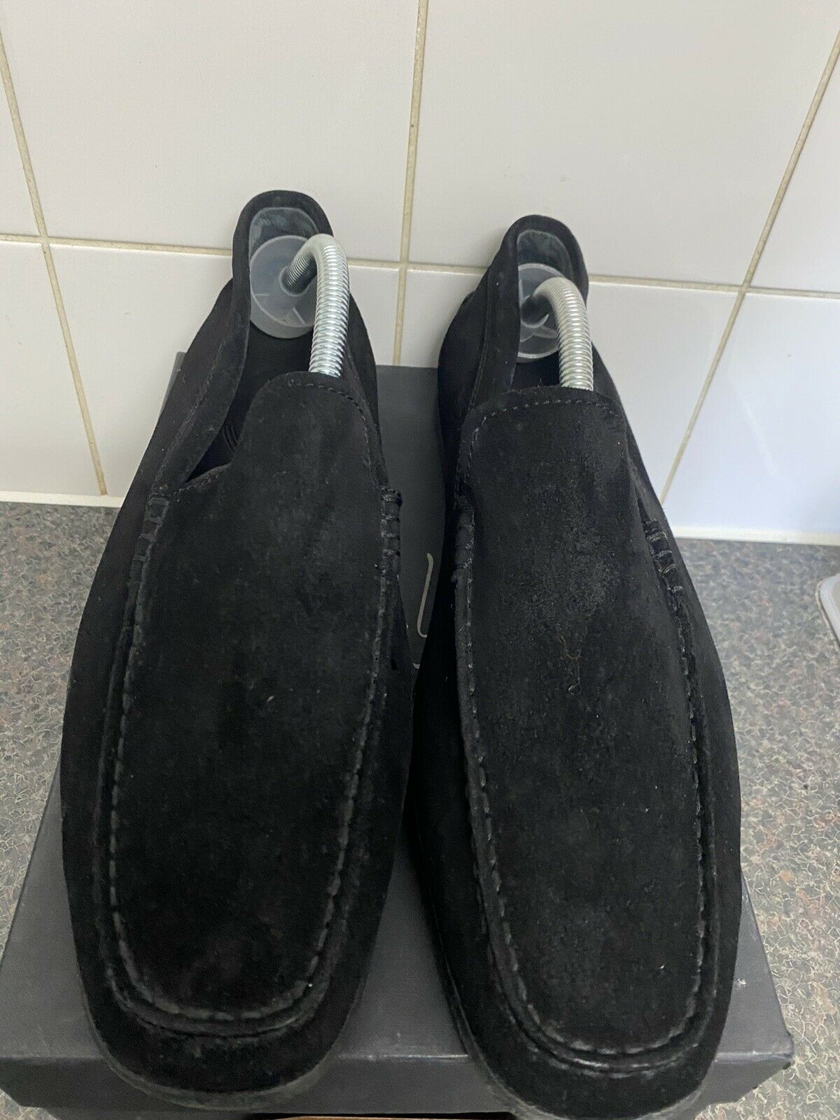GENUINE LEATHER SUEDE DARK BLUE SIZE 8 SLIP ON SUMMER LOAFERS SHOES MENS