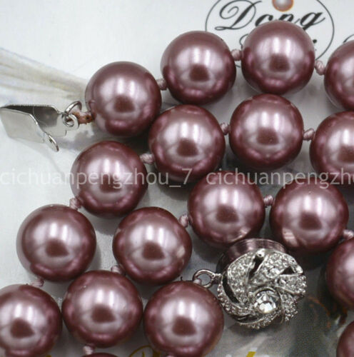 """10mm Silver Champagne South Sea Shell Pearl Necklace 18/"""" Crystal Clasp"""