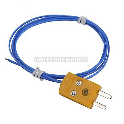 K Type Thermocouple Blue Telfon Cable with Connectors for Temperature Controller