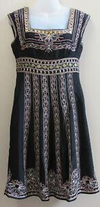 Nanette-Lepore-100-Silk-Black-Pink-Gold-Embroidered-Embellished-Dress-sz-4