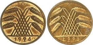 Weimar 10 Pension Penny 2x Bildseite 1x Incus 1924 G Mint State