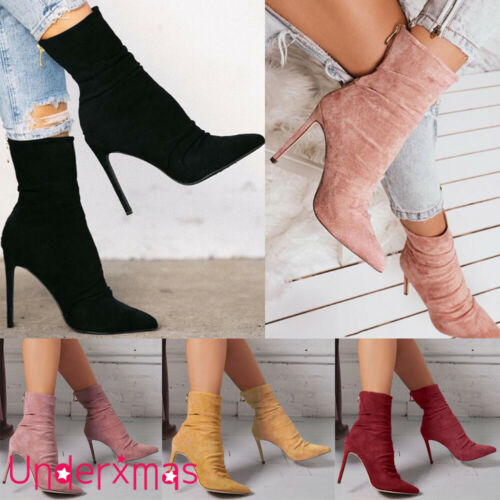 LADIES WOMENS SUEDE SOCK ANKLE BOOTS STILETTO HIGH HEEL ZIPPER SHOES UK SIZE 3-7