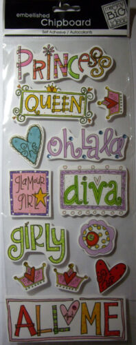NEW 13 pc DOODLE PRINCESS Queen Girly Diva Glamour  MAMBI 3D Chipboard Stickers