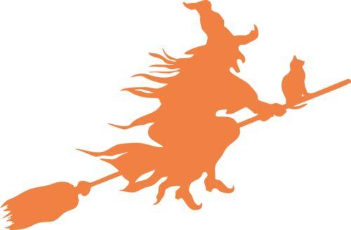 2 sorcière et chat sur Balai Halloween Coupe Autocollant Vinyle Idéal pour Windows etc.