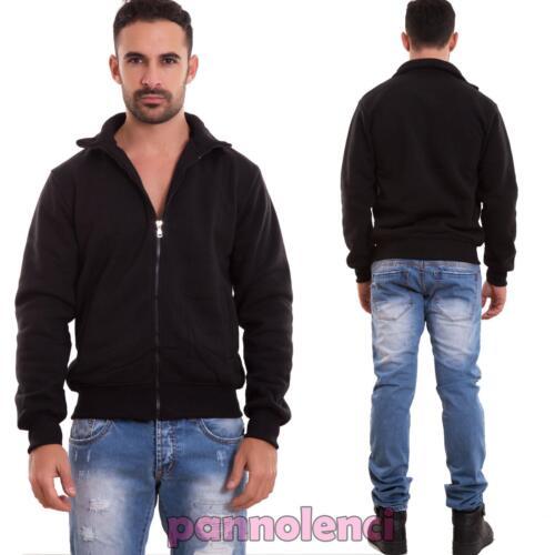 Felpa uomo maglia zip casual manica lunga tasche basic cotone nuova M5231