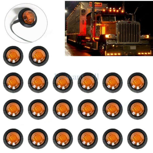 40x 3  4 U0026quot  Inch Amber Red 12v Led Clearance Marker Light
