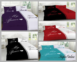 My Space Your Space Duvet Cover /& Pillowcases Bedding Set All Sizes /& Colours