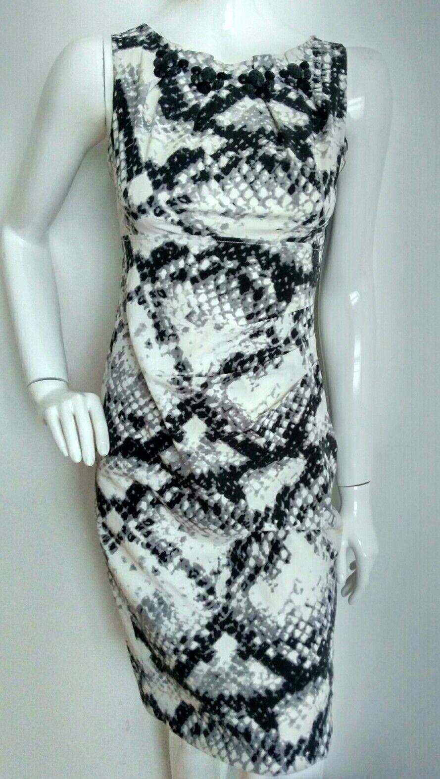 Designer KAREN MILLEN print silk dress size 8 --VGC-- knee length sexy fit