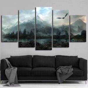 Details About Canvas Painting 5 Panels Skyrim Wall Art Modern Home Decor Picture