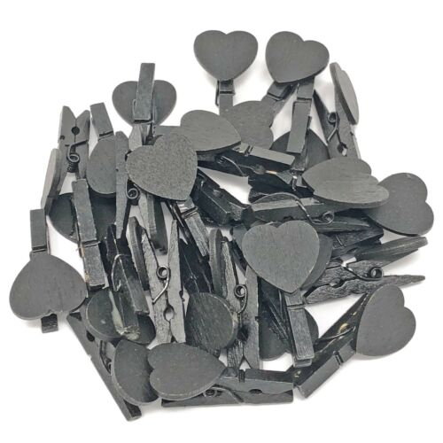 30mm Black Mini Clothes Pegs /& 18mm Black Hearts ShabbyChic Wedding