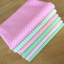 MINT GREEN & BABY PINK Fat Quarter Bundle PASTEL SPOTS STARS STRIPES Fabrics