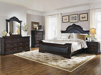 CALAIS-5pc TRADITIONAL BROWN FAUX LEATHER QUEEN KING PANEL BEDROOM SET FURNITURE