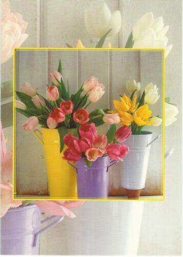 Pink Flowers in a Bucket  Blank Card