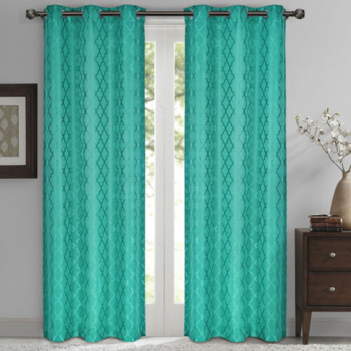 Set of 2 Modern Geometric Jacquard Thermal-Insulated Blackout Curtain Panels