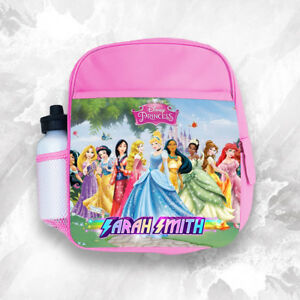 Details about Personalised Kids Backpack Any Name Disney Princess Girl Childrens School Bag