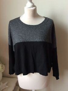 MASAI-Dark-Grey-Black-Colour-Block-Boxy-Short-Jumper-Size-L-16-18-4-Cashmere
