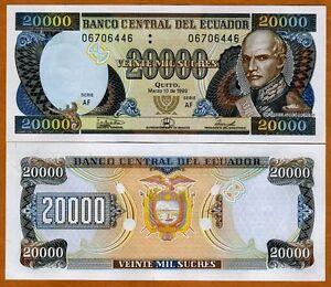 Image Is Loading Ecuador 20000 20 000 Sucres 1999 P 129
