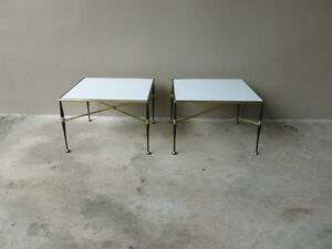 Pair Mid Century French Iron Brass End Tables W Milk Glass Tops