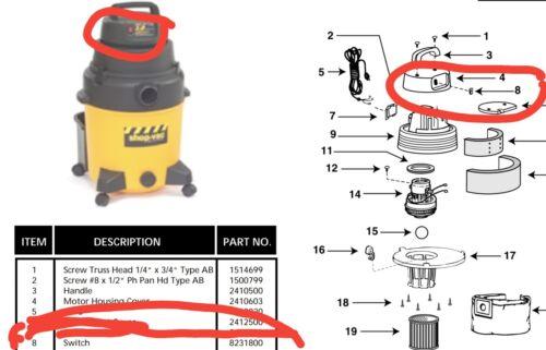 3 x NEW Genuine SHOP VAC SHOPVAC Vacuum Wet /& Dry ON OFF RED rocker switch