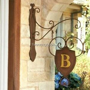 Perfect Image Is Loading IRON SHIELD MONOGRAM Initial Hanging Wall Plaque Bracket