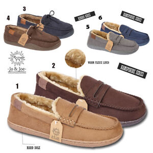 MENS-SUEDE-TEXTILE-FLEECE-MOCCASINS-LOAFERS-SHOES-SLIPPERS-UK-7-8-9-10-11-12