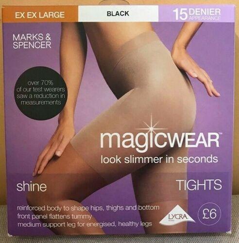 Collant chaussette M&S magicwear Collants Bum cuisse tum Naturel Noir S M L XXL plus fin 15 den neuf