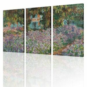 Irises-In-Monets-Garden-by-Claude-Monet-Ready-to-hang-canvas-3-Panels-Wall