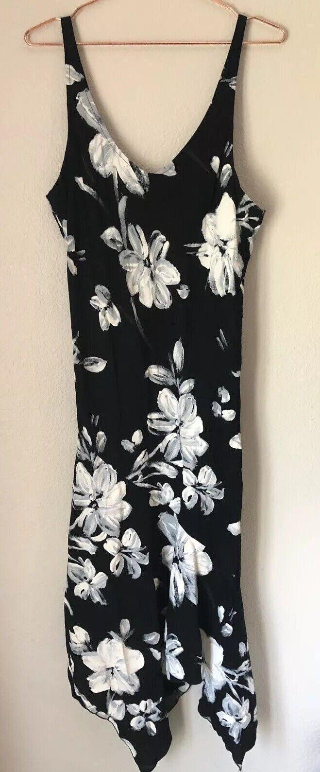 Jams värld kvinnor Julia Floral Print Midi Slieveless Dress Storlek L NWT
