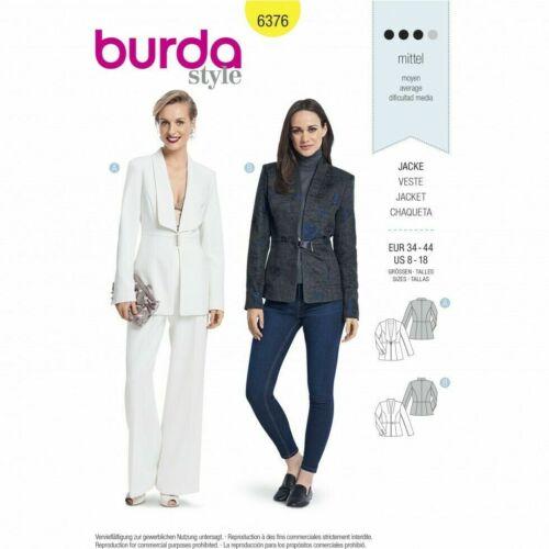 Burda Sewing Pattern 6376 Blazer Jackets Edge To Edge 8-18 2 Styles Ladies