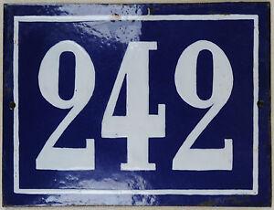 Large old blue French house number 242 door gate plate plaque enamel metal sign