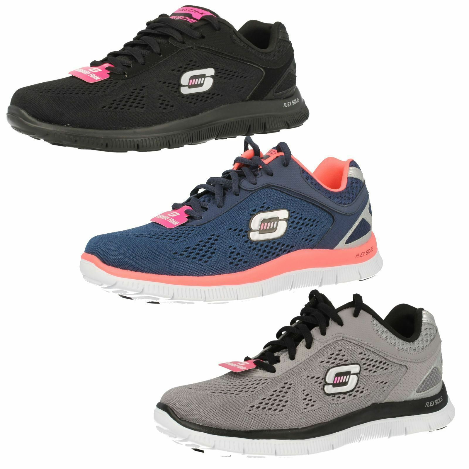 LADIES SKECHERS FLEX APPEAL LOVE YOUR STYLE MEMORY FOAM LACE UP TRAINERS 11728