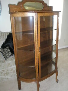 Image Is Loading ANTIQUE Larkin Co Oak China Cabinet Curved Glass