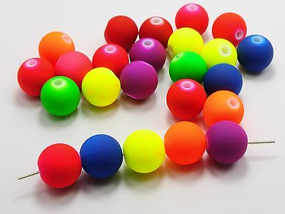 """150 Mixed Matte Neon Color Acrylic Round Beads 16mm(0.63"""") Rubber Tone"""