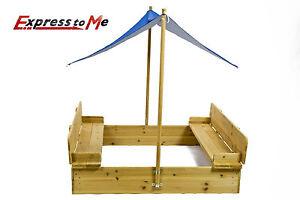 sandkasten mit deckel und sonnensegel dach spielhaus sandbox sandkiste holz ebay. Black Bedroom Furniture Sets. Home Design Ideas