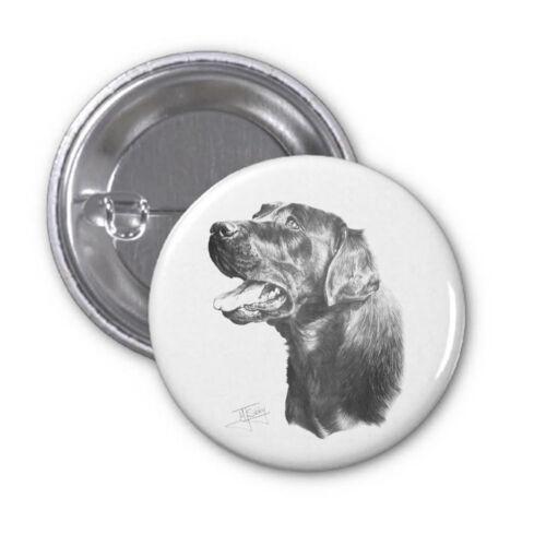 Mike Sibley Black Labrador 2 Dog Breed High Spec Metal Pin Badge 38mm//59mm Gift