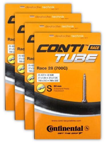 Continental Race 28 Bike Inner Tubes 700 X 25-32 Presta Valve PV 60mm 4 Pack