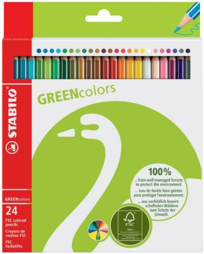 STABILO Buntstifte Malstifte GREENcolors 24er Karton-Etui