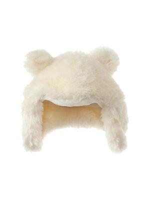 Baby Gap Ivory Faux Fur Bear Ear Trapper Winter Hat Fleece XS/S S/M NWT $22.95!