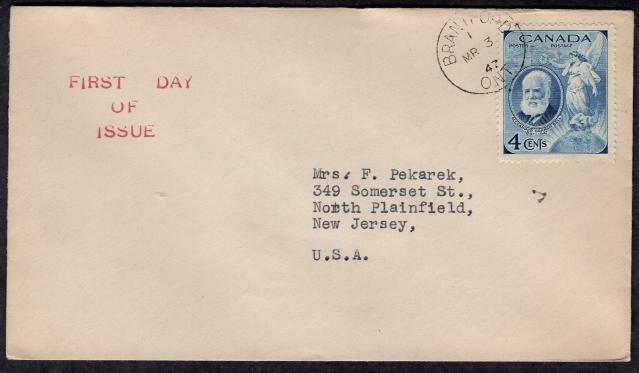 Canada #274 March 3 1947 FDC Brantford ONT, Alexander Graham Bell