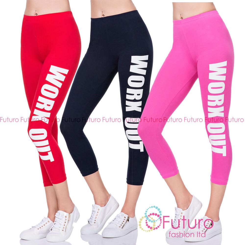 Work Out Leggings Fitness Wear nyomtatott futás 3/4 nadrág UK 8-22 LWO34
