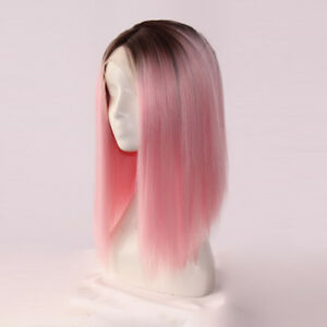 PINK-OMBRE-black-SHORT-BOB-HAIR-frontal-lace-Women-Lace-Front-wig-Wigs