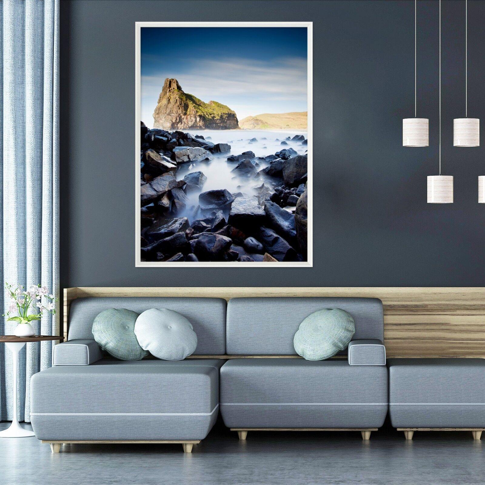 Niebla de piedra de montaña 3D 69 Póster Enmarcado Decoración del Hogar Pintura de Impresión Arte AJ