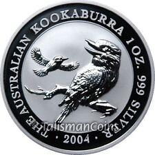 Australia 2004 Kookaburra Pair Flying and Laughing $1 Pure Silver Dollar