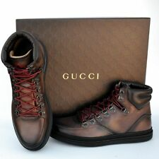 GUCCI New sz 9 G US 9.5 Authentic Designer High Top Mens GG Sneakers Shoes brown