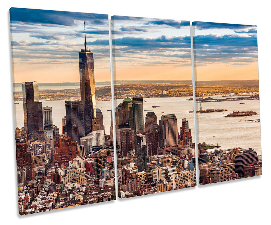 Sunset Lower Manhattan Manhattan Manhattan New York TREBLE CANVAS WALL ART Box Framed Picture 07a5a0