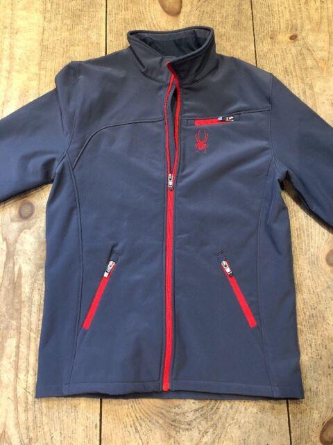 d18c8d37b Spyder Xt.l Ski Jacket Soft Shell Ombre Blue Gray Red Boys XL 18 20 ...