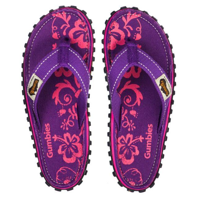 Gumbies Islander Women's Purple Hibiscus Comfort Flip Flops NEW SEASON