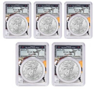 2019 1oz Silver Eagle PCGS MS70 First Strike Label 5 Pack