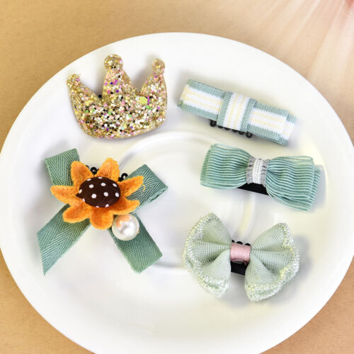5//6Pcs Baby Hair Clips Girls Kids Flowers Hair Clip Bow Hairpin Barrette Clips