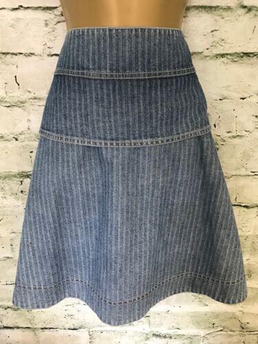 Skater Skirt Ladies Pinstripe Designer 10 Uk It 42 Denim Blue See Chloe By q10wExt8
